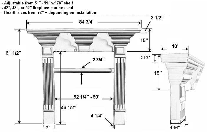 Avondale C Plaster Fireplace Mantel Dimensions