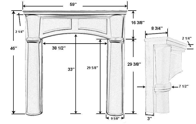 Brookhaven 36 Plaster Fireplace Mantel - Dimensions