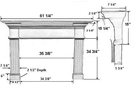 Candler 36A Plaster Fireplace Mantel - Dimensions