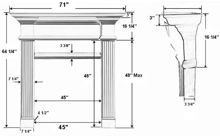 Candler 42 Tall Plaster Fireplace Mantel - Dimensions