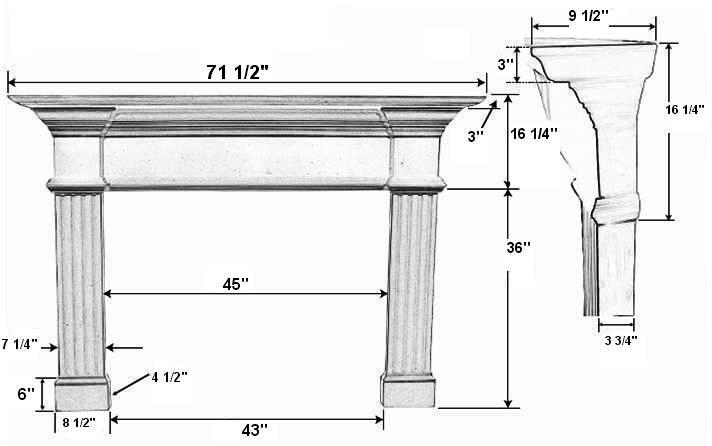 Candler 42 Plaster Fireplace Mantel - Dimensions