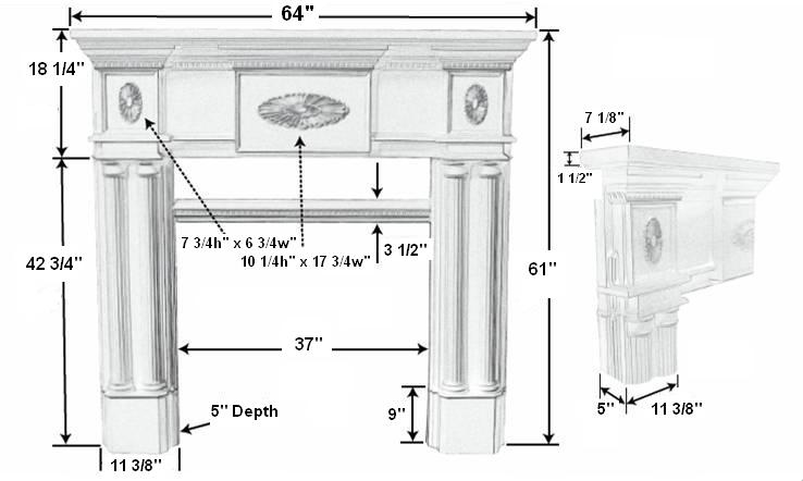 Peachtree 36 Tall Plaster Fireplace Mantel - Dimensions