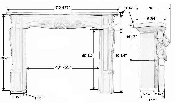 Versailles 72 Plaster Fireplace Mantel - Dimensions